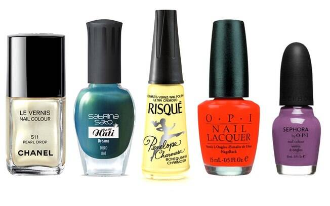 Top 5 da Carmem: Pearl Drop (Chanel), Disco (Sabrina Sato), Bonequinha Charmosa (Risqué), Atomic Orange (OPI)e Iris Was Thinner (Sephora)