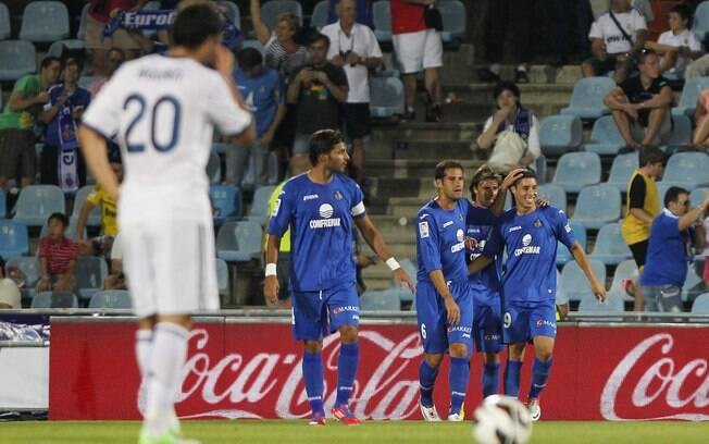 Barrada comemora gol do Getafe contra o Real Madrid