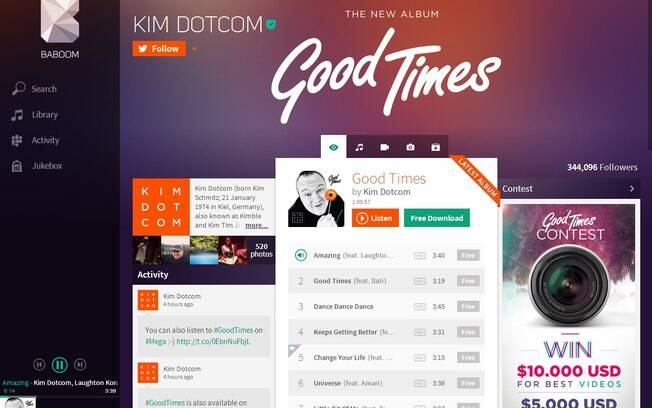Baboom é o novo serviço de streaming de música do fundador do Megaupload, Kim DotCom