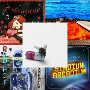 "As capas de ""One Hot Minute"", ""Californication"", ""By The Way"", ""Stadium Arcadium"" e ""I'm With You"""