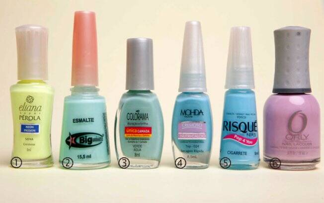 1 - Siena, Eliana| 2- Acqua, Big Universo| 3- Verde Água, Colorama| 4- Top, Mohda| 5- Cigarette, Risque| 6- Lollipop, Orly