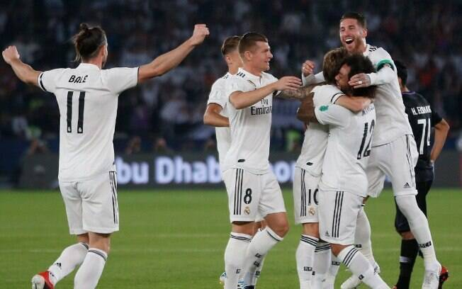 Real Madrid comemora gol na final do Mundial de Clubes