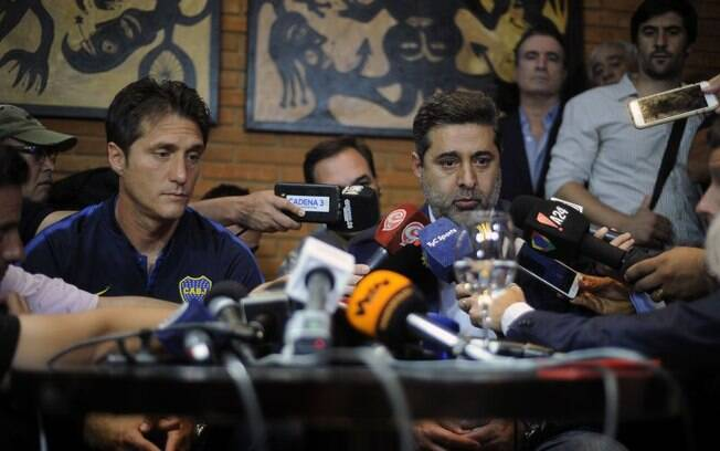 Guillermo Schelotto, técnico do Boca, e Daniel Angelici, presidente do clube xeneize