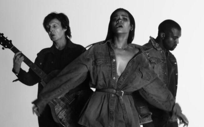 Paul McCartney, Rihanna e Kanye West no clipe de