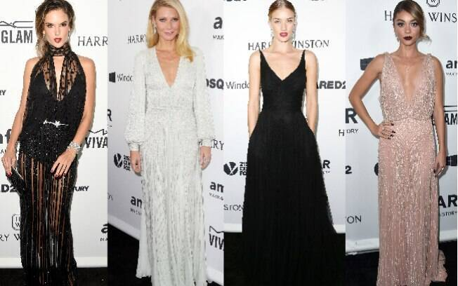 Celebridades de Hollywood no tapete do baile de gala da fundação amfAR em Los Angeles