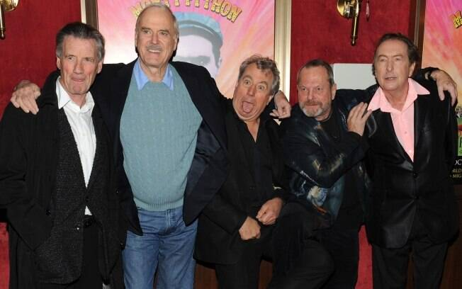 Michael Palin, John Cleese, Terry Jones, Terry Gilliam e Eric Idle em evento em Nova York