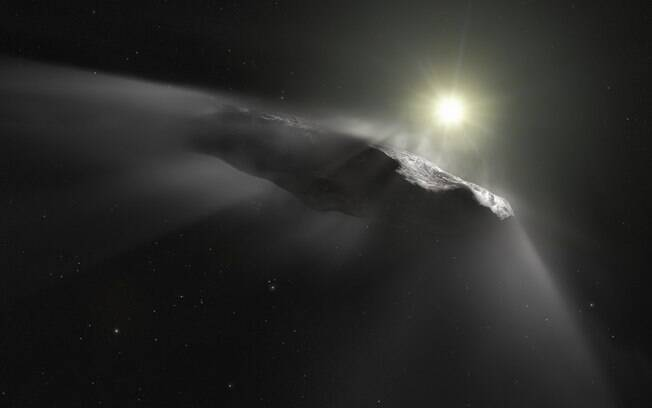Impressão artística do asteroide interestelar Oumuamua