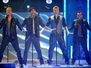 Brian Littrell, AJ McLean, Nick Carter e Howie Dorough, os Backstreet Boys, em show em 2010
