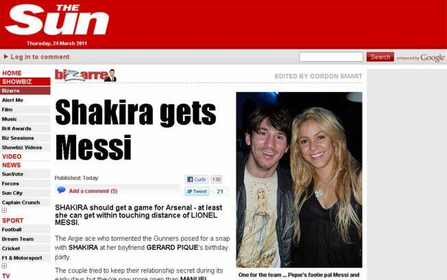 Shakira na capa do tabloide